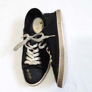 Michael Kors black canvas leather lace up sneakers